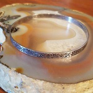 """Vintage Sterling silver flower motif bracelet 7"""""""
